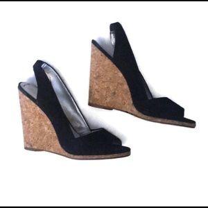 Jessica Simpson Wedge slingback blk velvet & cork